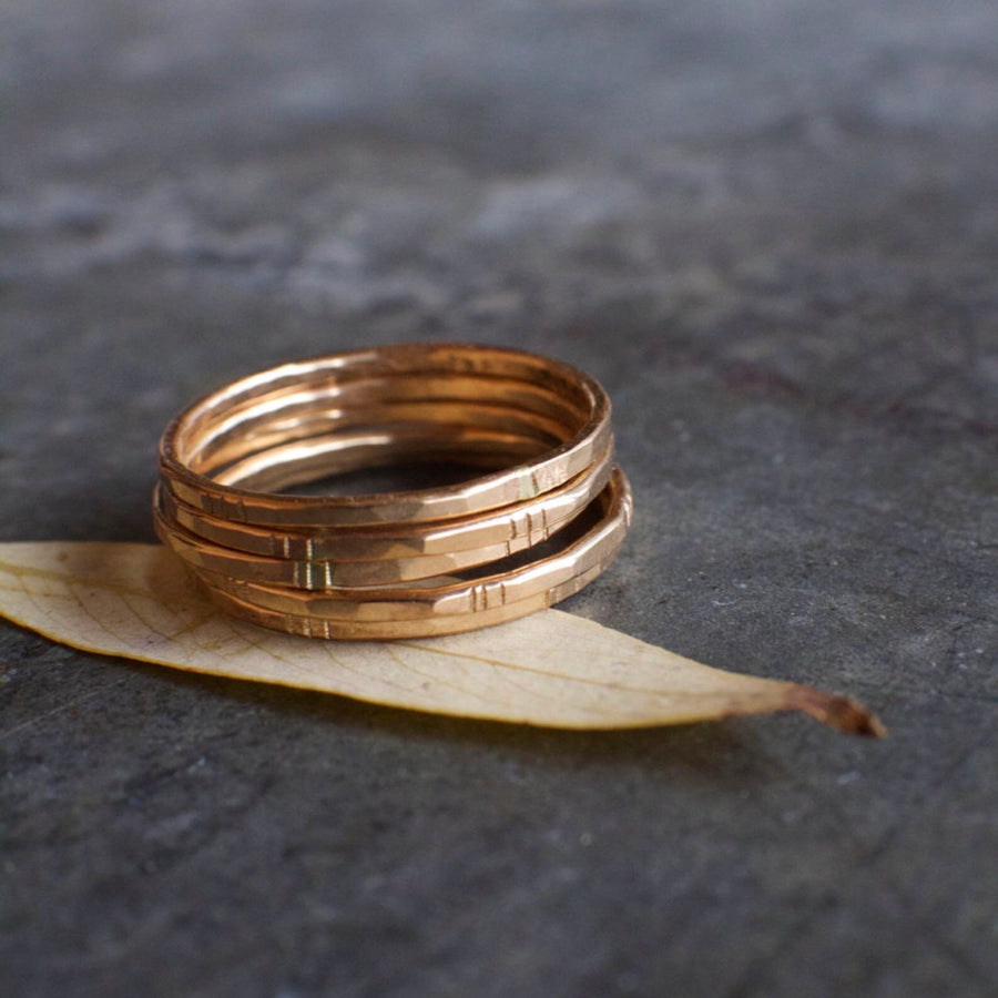 Gold Stacking Rings- Set of 5