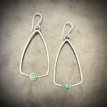Triangles with Chrysoprase Earrings