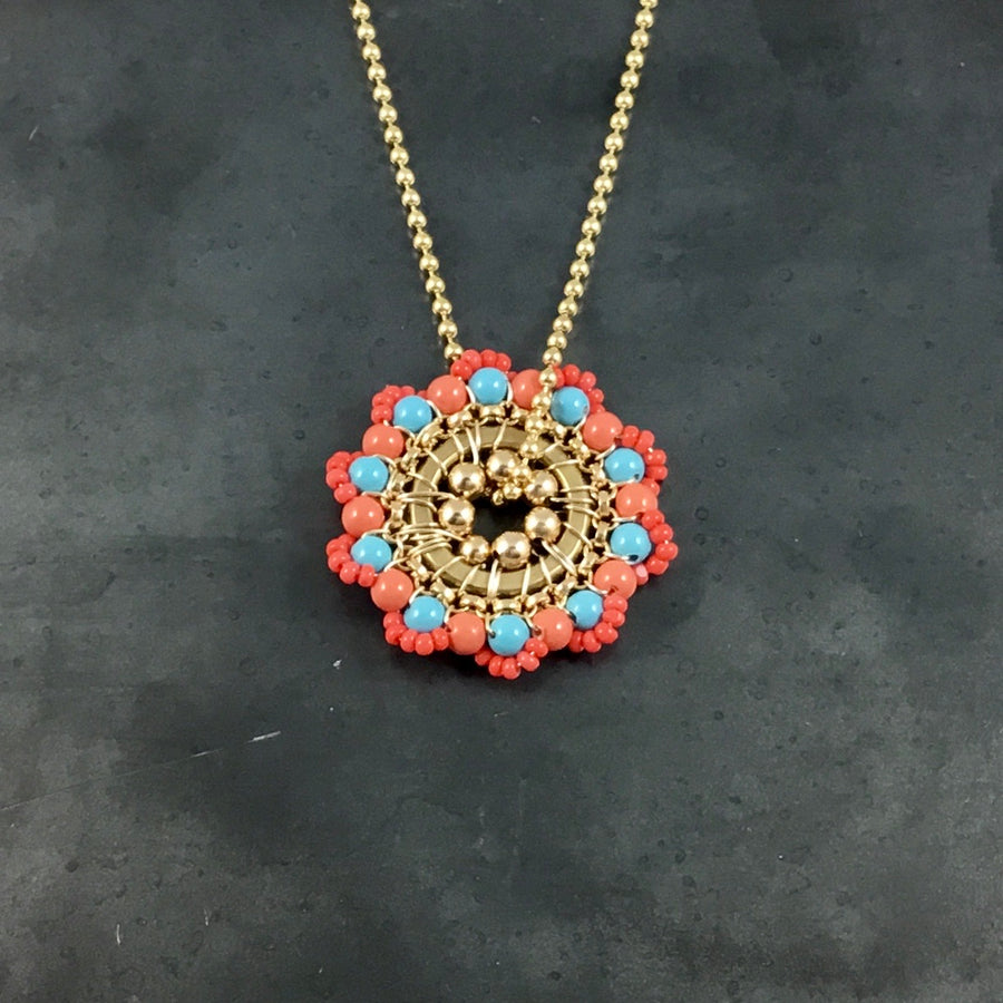 Bloom Necklace - Coral, Turquoise/Coral, Gold
