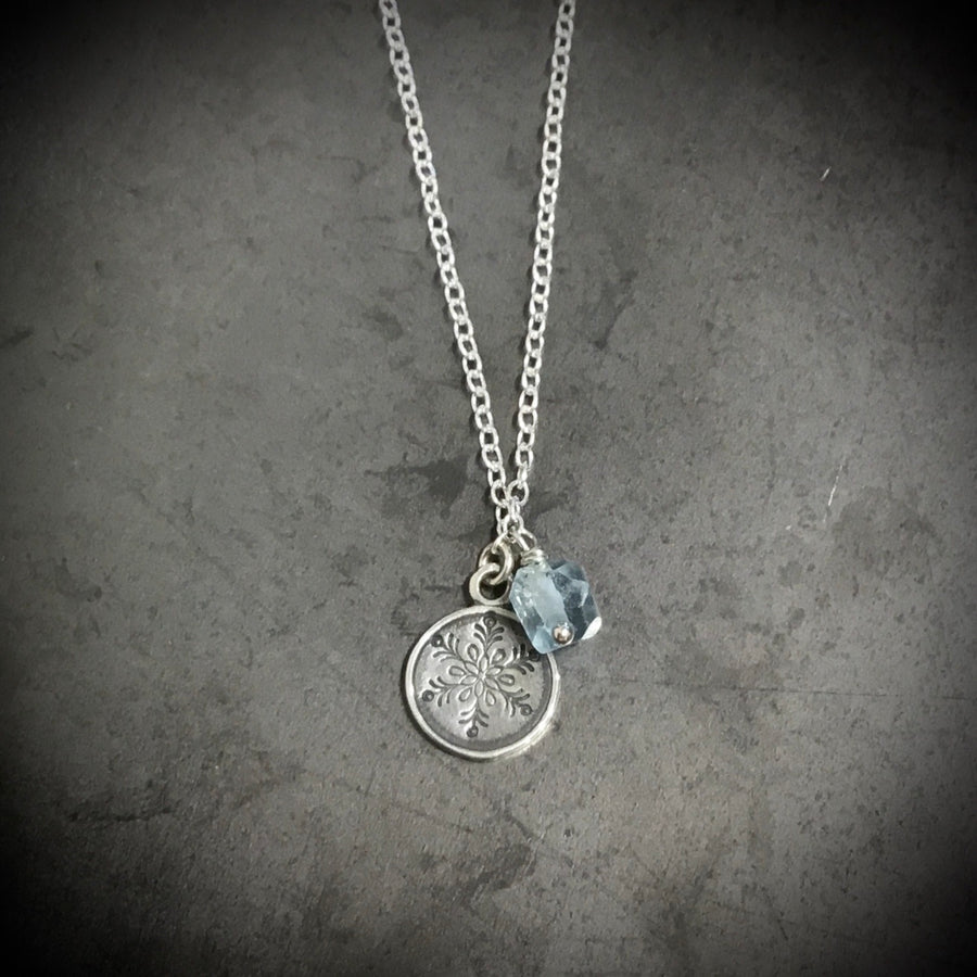 Necklace - Snowflake with Aquamarine