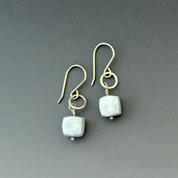 Tiny Earrings with Blue Opal