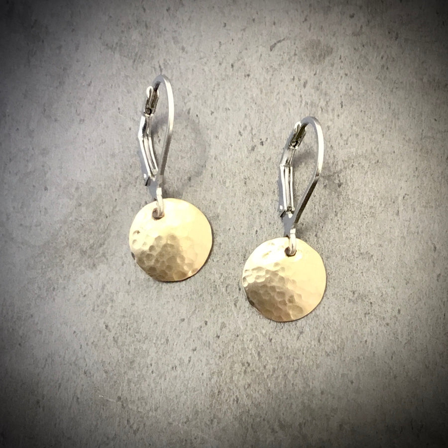 Small Mixed Metal Hammered Disk Earrings