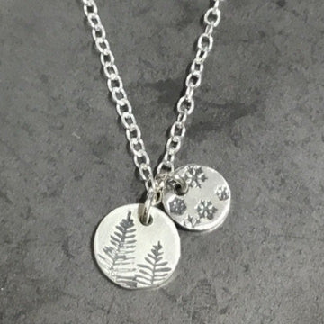 Necklace - Two Discs, Snowflakes and Pines