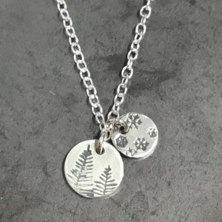 Necklace - Two Disks, Snowflakes and Pines
