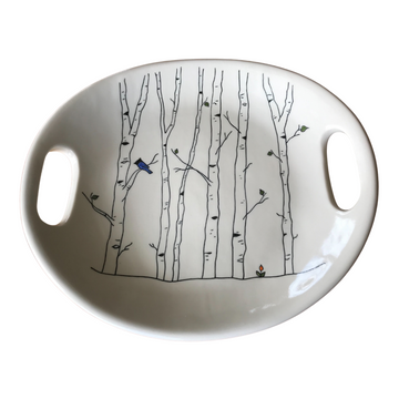 Serving Dish with Mishima Aspens and Bluebird