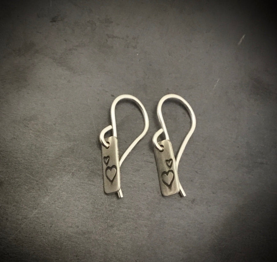 Earrings -Rectangle with Hearts