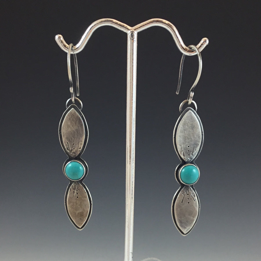 Tiny Leafies Earrings - Chinese Turquoise