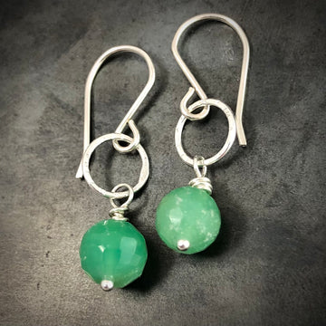 Tiny Chrysoprase Earrings