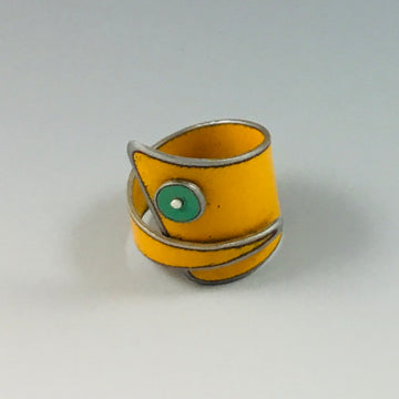 Ring - Yellow with Green Dot