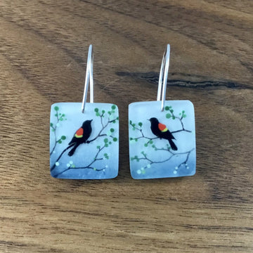 Red Winged Blackbird Earrings