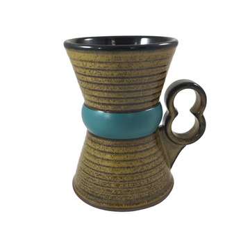 Caramel Hourglass Mug with Blue Stripe