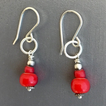 Tiny Earrings with Antique Trade Beads