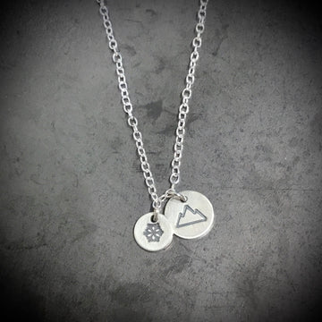 Necklace - Two Discs, Snowflake and Mountains