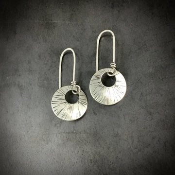 Long Wire Stamped Disk Earrings