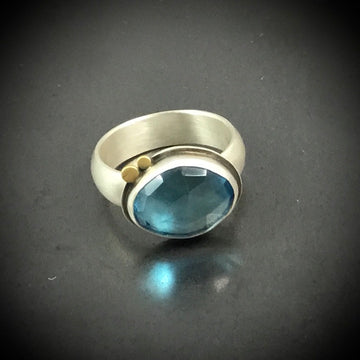 Rose Cut Blue Topaz Ring