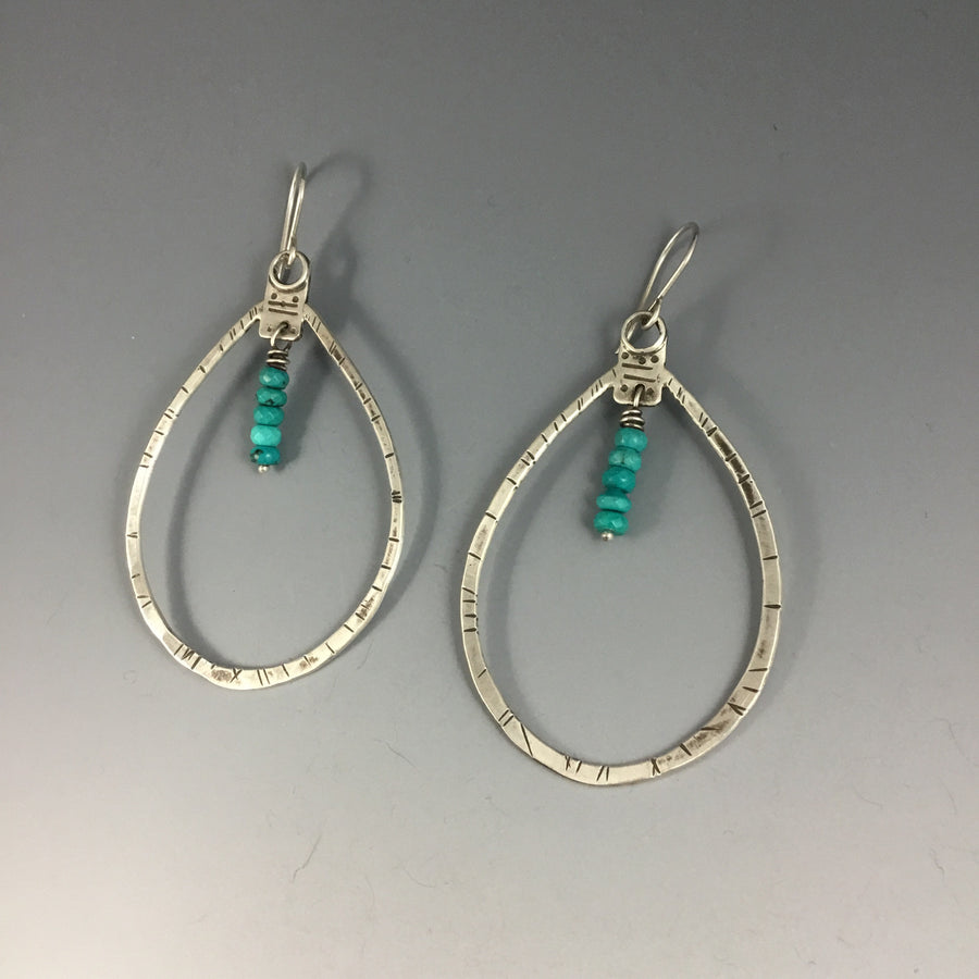 Large Teardrop with Turquoise Earrings