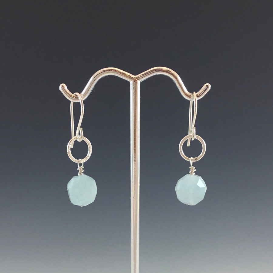 Super Tiny Earrings with Aquamarine
