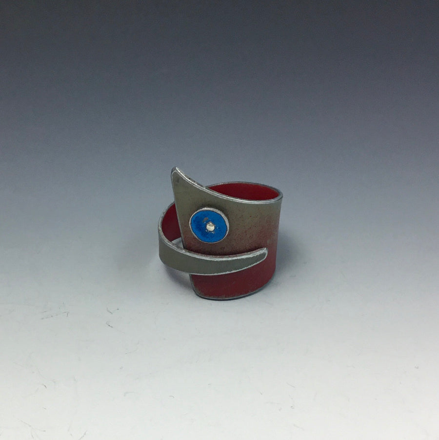 Ring - Red with Blue Dot