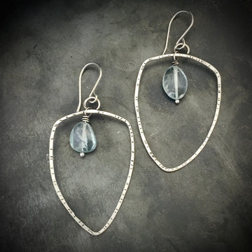 Shield Hoop Earrings with Aquamarine