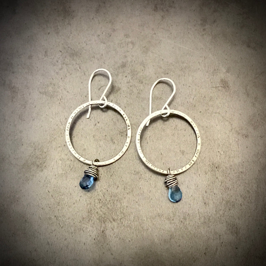 Stamped Circles with London Blue Topaz Earrings