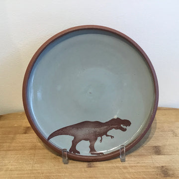 Small Plate - T-Rex - Blue/Grey
