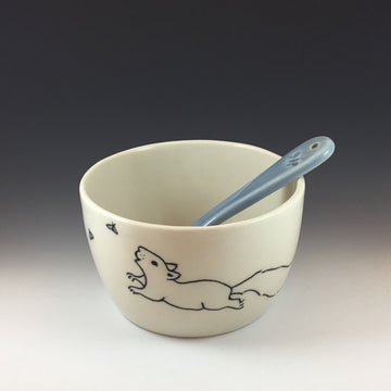 Dipping Bowl with Spoon with Squirrel