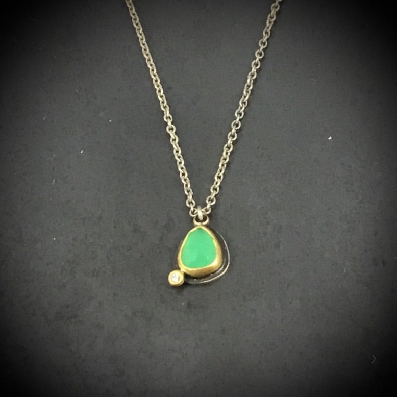 Rose Cut Chrysoprase Necklace