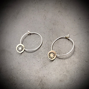 Earrings - Hoop with Sunburst Disc Drop