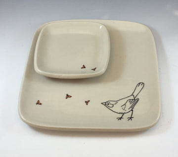 Square Bird Plate with Square Dipping Bowl