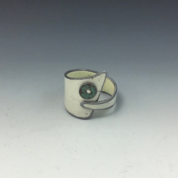 Ring - White with Mint Dot