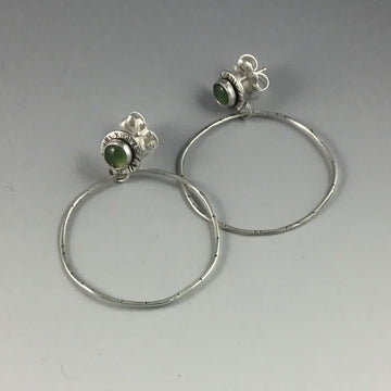 Serpentine Posts with Stamped Circle Earrings