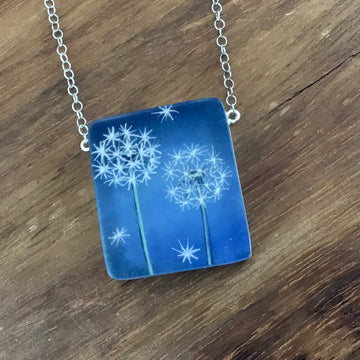 Blue Dandelions Necklace