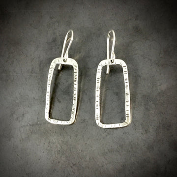 Stamped Rectangle Earrings