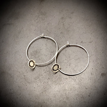 Earrings - Hoop with India Flower Disc Drop