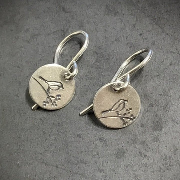 Earrings -Bird on Branch Disks
