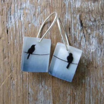 Birds on Lines Earrings