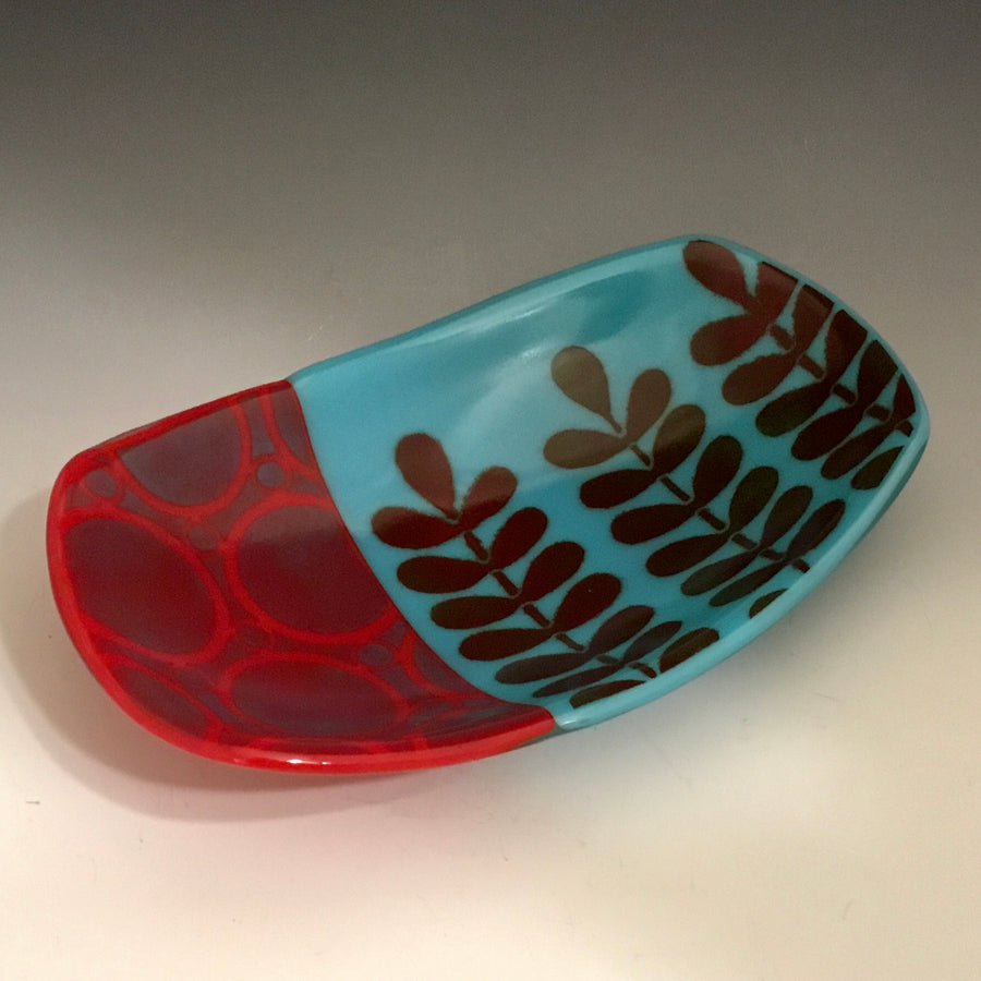 Turquoise and Red Footed Dish - 3 Stem
