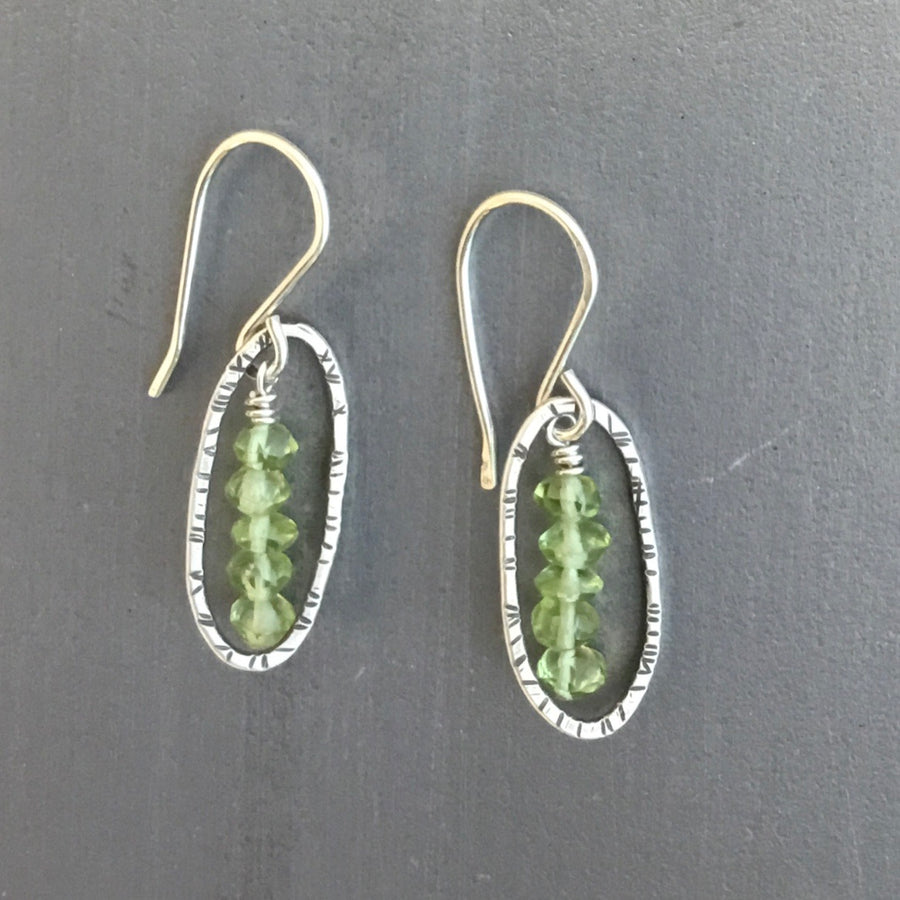 Tiny Oval Earrings with Peridot