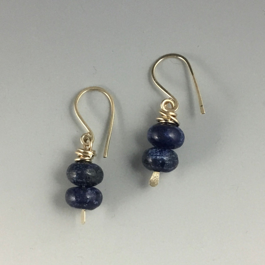 Gold Filled Tiny Earrings with Sodalite