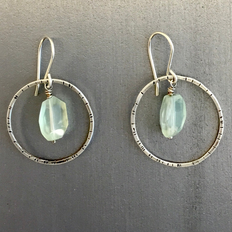 Stamped Circle Earrings with Prehnite