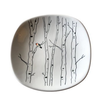 Dessert Plate with Mishima Aspens and Western Tanager
