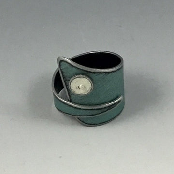 Ring - Metallic Blue with White Dot