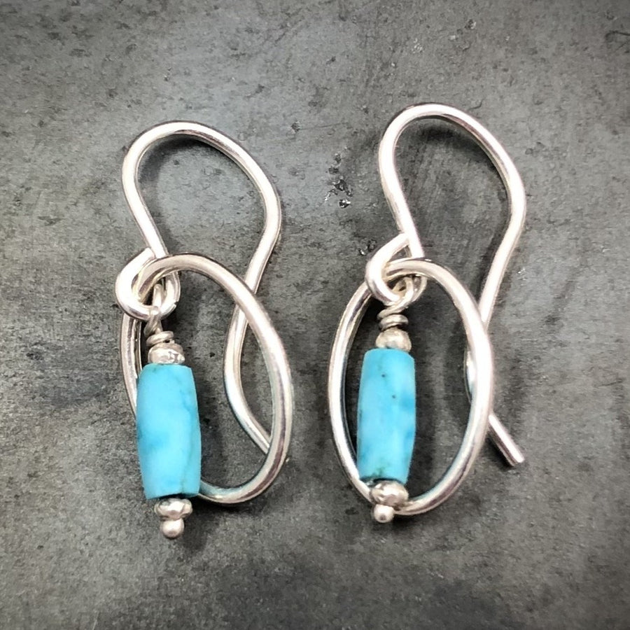 Earrings - Oval with Turquoise Bead
