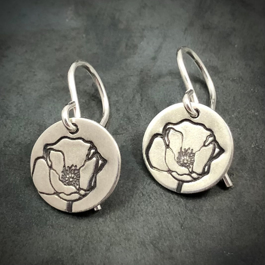 Earrings - Disk with Poppy
