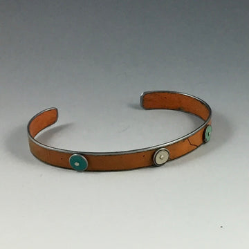 Small Cuff Bracelet with Dots - Orange