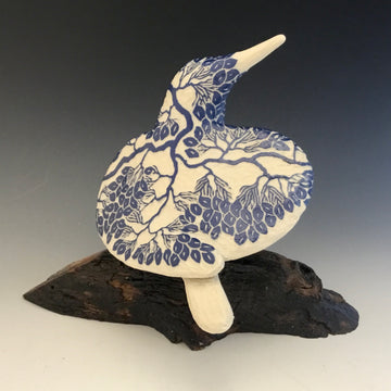 Blue Carved Bird #627