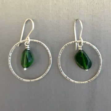 Stamped Circle Earrings with Chrome Diopside