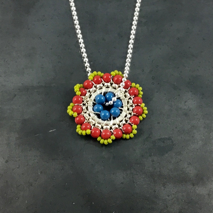 Bloom Necklace - Lime Green, Red, Blue