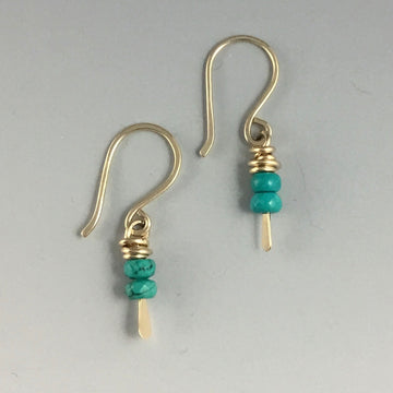 Gold Filled Tiny Earrings with Turquoise