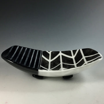 Black and White Footed Dish chevron